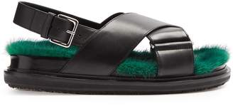 Marni Fur-insole leather sandals