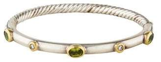 David Yurman Diamond & Peridot Hinged Cable Bangle