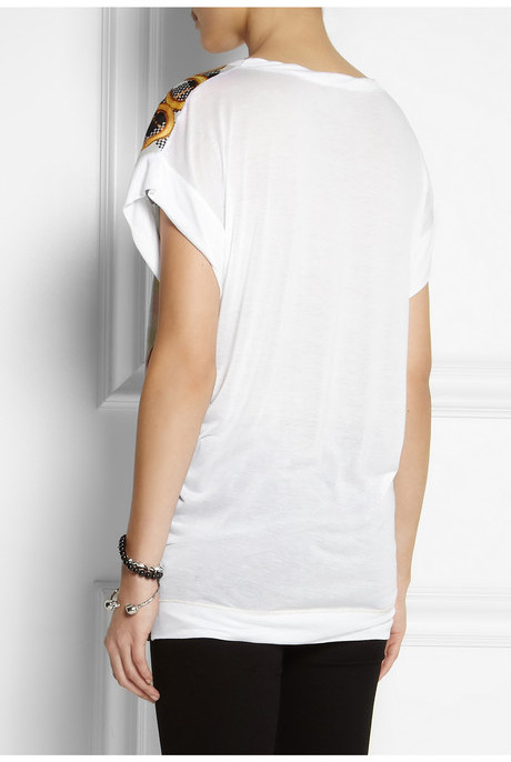 Just Cavalli Printed satin and jersey T-shirt