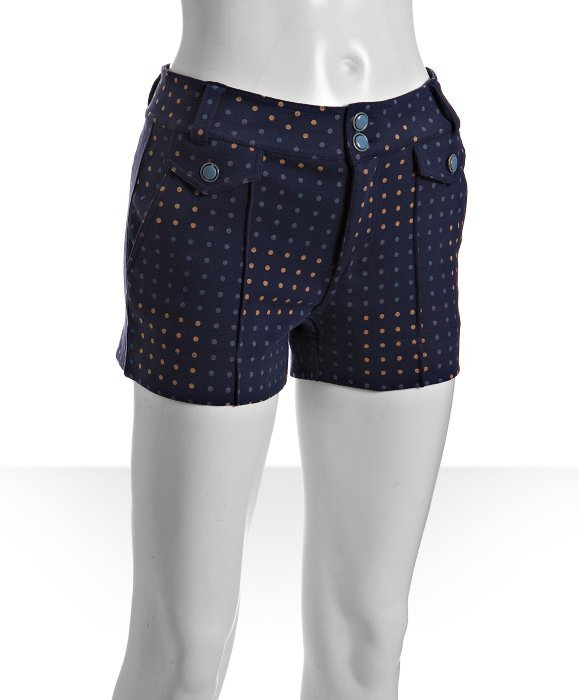 Marc by Marc Jacobs twilight blue cotton polka dot print knit shorts