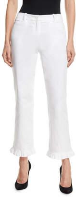 Michael Kors Ruffled-Hem Straight-Leg Stretch-Cotton Trousers