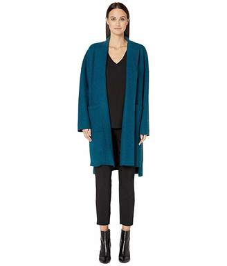 Eileen Fisher Lightweight Boiled Wool Kimono Calf Length Jacket