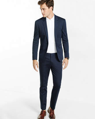 Express Extra Slim Navy Cotton Sateen Suit Pant