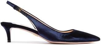 Point-toe slingback kitten-heel velvet pumps