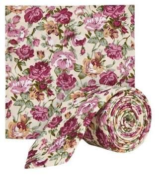 Burton Mens Peach Floral Print Tie and Pocket Sqaure Set