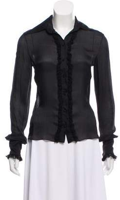 J. Mendel Ruffle-Trimmed Button-Up Top