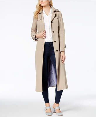 London Fog Hooded Maxi Trench Coat