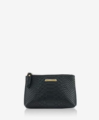 GiGi New York Small Cosmetic Case, Black Embossed Python
