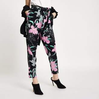 River Island Petite black floral tie waist tapered pant