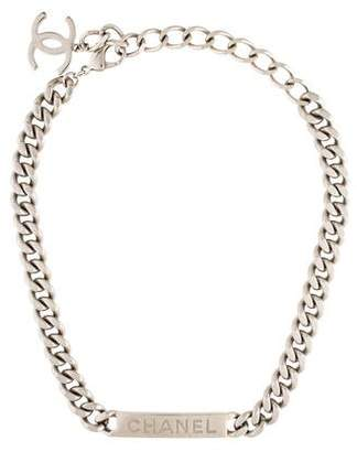 Chanel Logo Curb Link Chain Necklace