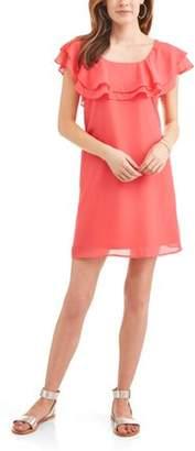 Allison Brittney Women's Ruffled Neck Peasant Dress