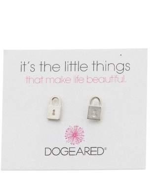Dogeared Its the Little Things Lock Stud Earrings