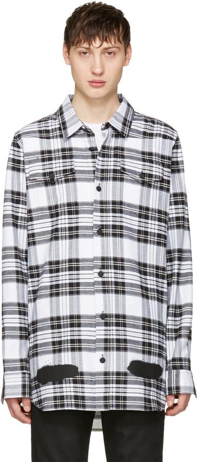 Off-White White Check Diagonal Spray Shirt