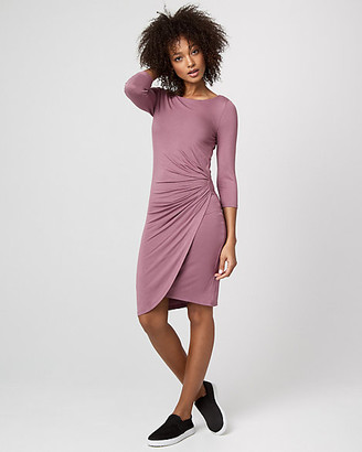 Le Château Jersey Boat Neck Pleated Dress