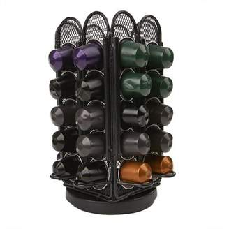 Nespresso Mind Reader Coffee Pod Storage for Capsules, Carousel Holds 40 Capsules, Black Metal Mesh