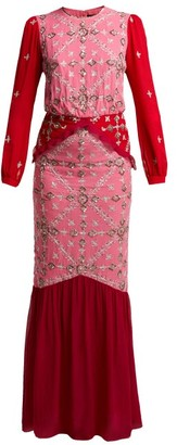Saloni Isa Sequinned Silk Georgette Dress - Womens - Pink Multi