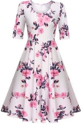 Meaneor Women's Tank Fit Swing Dress Floral Print Knee Long Skater Dress,/XXL