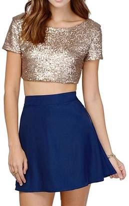 33ece2b91771b9 miis Women s Sexy Shimmer Gitter Sequins Backess Crop Tops T-Shirts ( ...