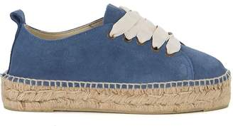 Manebi Hamptons Suede Blue And Jute Espadrilla Sneaker