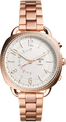 Fossil Q Women's Accomplice Rose Gold-Tone Stainless Steel Bracelet Hybrid Smart Watch 38x40mm