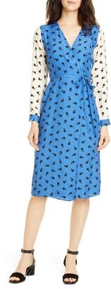 HVN Julia Long Sleeve Silk Wrap Dress
