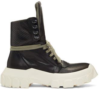 Rick Owens Black and Off-White Hiking Sneaker Boots