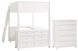 Pottery Barn Teen Beadboard Loft & 5-Drawer Dresser Set, Full, Weathered White