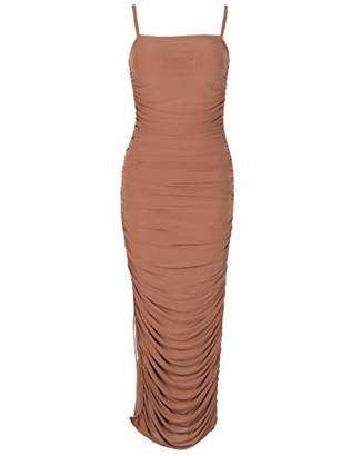 Deer Lady Womens Spaghetti Strap Bodycon Evening Party Long Tight Dress with Slit L