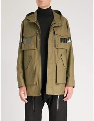 Neil Barrett Iridescent-striped cotton-blend parka jacket