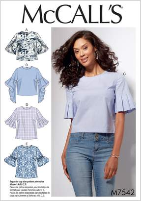 Mccall's MCCALLS M7542 Misses' Tops with Trumpet, Tulip, Pleated Or Bubble Sleeves Size 14-22 ~ Sewing Pattern