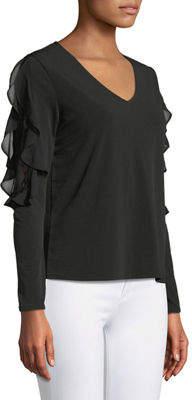 Neiman Marcus Lace-Shoulder V-Neck Tee