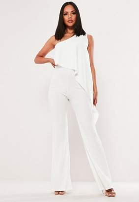 Missguided White Double Layer Asymmetric Jumpsuit, Cream