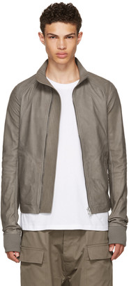 Rick Owens Grey Leather Intarsia High Neck Jacket $2,670 thestylecure.com