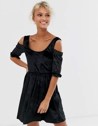 Glamorous velvet mini skater dress