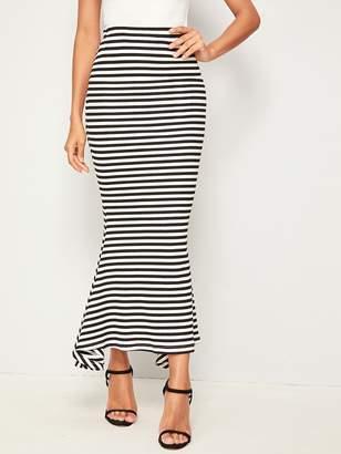 Shein Elastic Waist Striped Fishtail Hem Skirt
