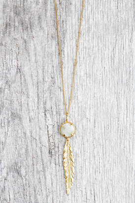 Stitch And Stone Stitch and Stone Long Stone Pendant With Feather Charm