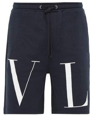 Valentino Logo Print Cotton Loop Back Jersey Shorts - Mens - Navy