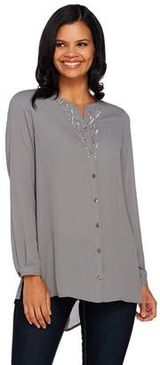 Susan Graver Artisan Feather Weave Fabric Shirt w/ Embellishment