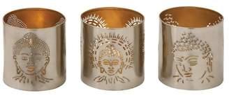 Benzara Metal Buddha Votive Holders, 3x3