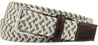 W.KLEINBERG W. Kleinberg Men's Sport Stretch Belt with Crocodile-Trim, Sky