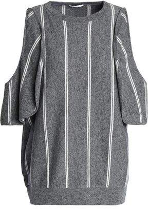 Brunello Cucinelli Cold-Shoulder Striped Wool Cashmere And Silk-Blend Top