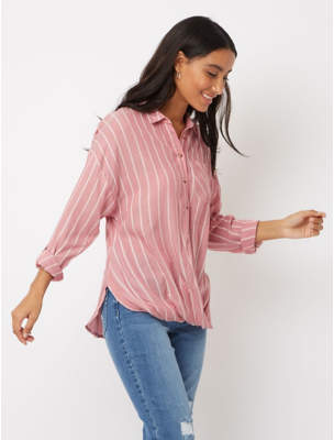 George Red Stripe Long Sleeve Twist Front Blouse