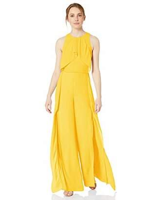 Halston Women's Sleeveless High-Neck Flowy Drape Front Jumpsuit