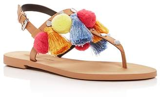 Rebecca Minkoff Women's Estelle Studded Pom-Pom Thong Sandals