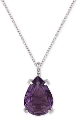 "Tiara Cubic Zirconia Teardrop 18"" Pendant Necklace"