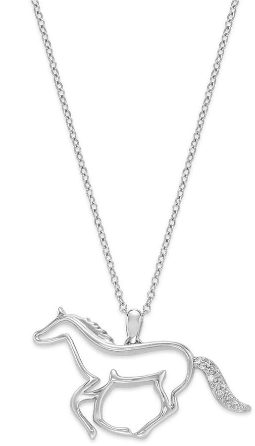 Macy's ASPCA® Tender Voices® Sterling Silver Necklace, Diamond Accent Running Horse Pendant