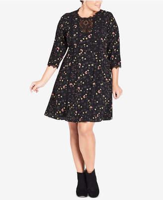 City Chic Floral-Print Lace-Trimmed Retro Dress