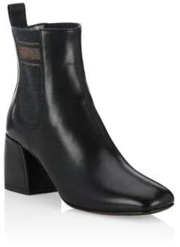 Brunello Cucinelli Square Toe Leather Booties