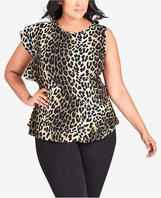 City Chic Trendy Plus Size Animal-Print Ruffle Top