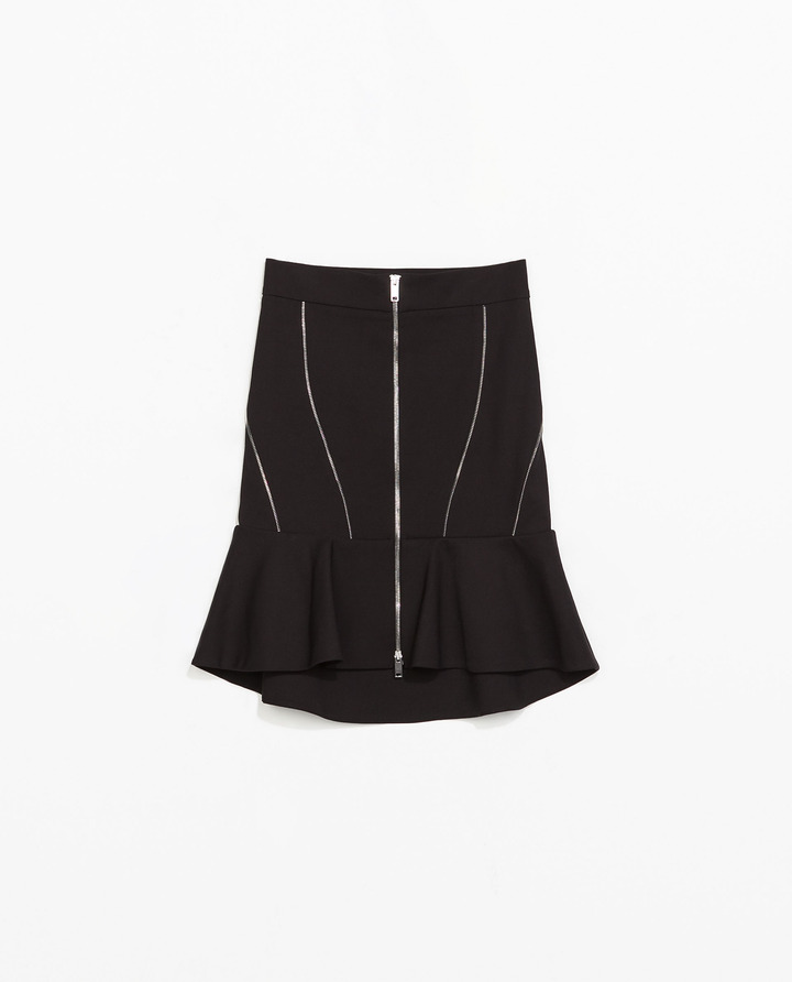 Zara Flounced Skirt With Zips